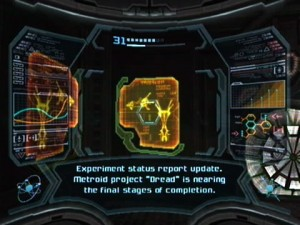 The Metroid Dread message, as shown in Metroid Prime 3.